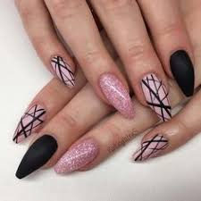 black and pink nails black nails with glitter matte black nails glitter nails