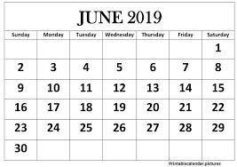 June 2019 Printable Calendar Landscape Printable Calendar
