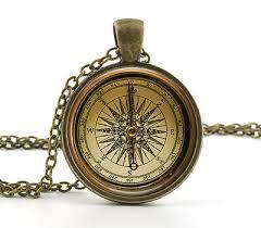 vintage compass pendant necklace old