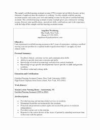 Certified Nursing Assistant Resume Unique Cnasume Samples Sample For