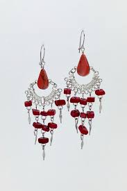 unbranded red peruvian opal chandelier earrings front cropped image