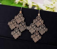 elegant gold tone filigree chandelier earrings zoom