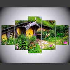 5 panel painting hd printed painting new zealand hobbit garden canvas home decor wall art picture on home decor wall art nz with 5 panel painting hd printed painting new zealand hobbit garden