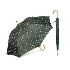 classic umbrella with real wooden hook handle white dot pattern factory china top umbrella co ltd