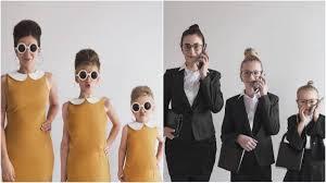 母娘3人がおそろいの髪型ファッションで家族写真 60年代風ドレス