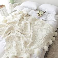 130X160CM 100 Cotton Cable Knit Throw Blanket Super Soft Warm White