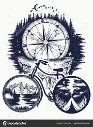 Kolo A Hory Tetování Umění Symbol Cestování Cestovní Ruch Stock