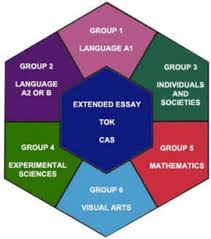 image of IB hexagon that contains the names of the six core subjects