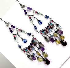 bohemian long chandelier earrings wire wrap by doolittlejewelry