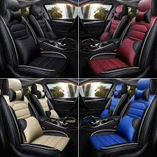 details about 5d car suv truck seat cover pu leather 5 seats cushion front rear headrest set