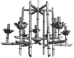 silver chinoiserie faux bamboo chandelier for 3