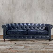 Leather Couch Living Room Chesterfield Sofa Navy Indigo Blue Leather Couch Living Room