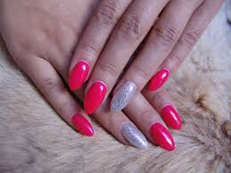 Nails Neon Pink Silver Glitter Angelina Beauty Blogger