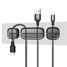 <b>Baseus Cross Peas</b> Adhesive 3 Port Premium Cable Organiser - Black
