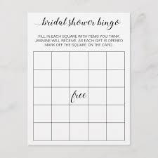 Elegant Bridal Shower Bingo Card Game Postcard