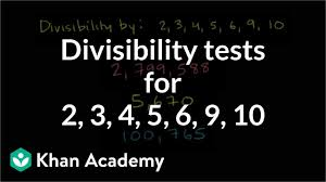 Math Divisibility Rules Chart Divisibility Tests For 2 3 4 5 6 9 10 Video Khan