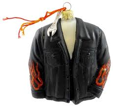 ornaments to remember biker jacket glass leather flame harley wrench 32r2jkt001 contemporary ornaments by story book kids inc