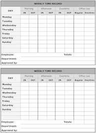 Weekly Time Record Example Image Weekly Time Record Time Sheet Printable