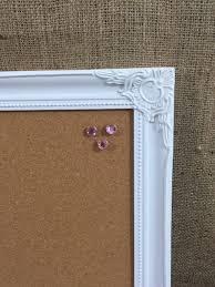 FRAMED PIN BOARD - White Framed Corkboard | White Ornate Framed Cork Board  | Memo Board | Notice Board | Vision Board | Framed Earring Stand