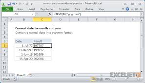 Excel Formula Convert Date To Month And Year Exceljet