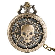 Retro Bronze Steampunk Hollow Caribbean Pirate Skull Head ...