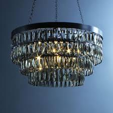 smoke crystal shallow chandelier