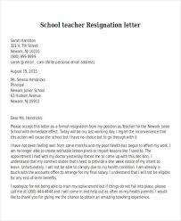 School Teacher Resignation Letter Sample. Resignation Letter Example ...