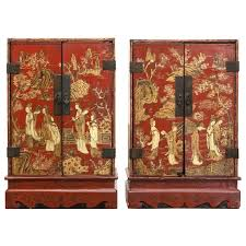red lacquered furniture. Red Lacquer Furniture Pair Of Period Table Cabinets For Sale Antique . Lacquered R