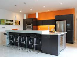 modern kitchen wall colors. Industrial Kitchen Decorating Ideas With Grey Island And Modern Cabinet Using Dark Orange Accent Wall Color Colors N
