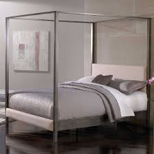 Queen size Modern Metal Platform Canopy Bed Frame with Upholstered ...