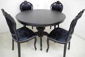 louis french style round pedestal table 4 chairs in black