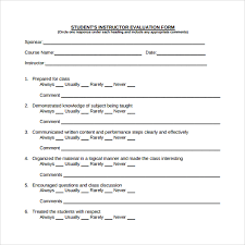 sample instructor evaluation form