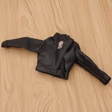 1 6 scale action figure toy black faux leather jacket pants male suit diy
