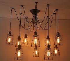 6 8 10 bulb lights edison chandelier suspension ceiling pendant spider copper