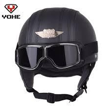 yohe leather motorcycle helmet retro pilot aviator scooter vintage half helmets casque moto casco with high quality a121 goggles sport bikes helmets sport