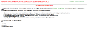 Physician Occupational Work Experience Certificate Experience