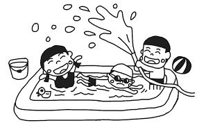 水遊びをする子どものイラスト 白黒ヤギさん フリー素材イラスト
