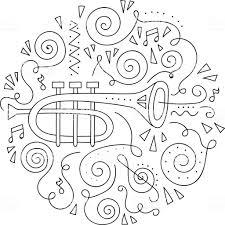 Doodle Trompet Jazz Festival Kleurplaat Stockvectorkunst En Meer