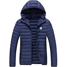 Amazon.com: Men's Lightweight Quilted Puffer Jacket Winter ... & FLY HAWK Winter Lightweight Warm Cotton Padded Jacket With Detachable Hood  For Mens Navy Blue US Adamdwight.com