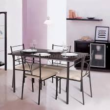 ikayaa 5 piece metal frame dining table and 4 chairs set kitchen furniture k9v0