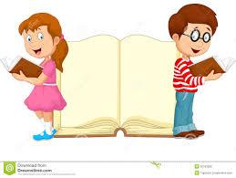 cartoon kids reading book stock vector image 50763208