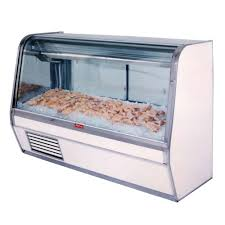 howard mccray sc cfs32e 8c 98 wide refrigerated fish display case with two rear sliding glass doors