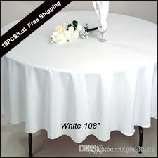pack 108 inch round wedding table cloth 100 polyester seamless white tablecloths fitted home table cloth oval for wedding decor white table linen