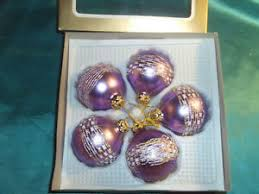 Details Zu 6 Alte Christbaumkugeln Glas Violett Lila Borte Draht Gold Cbs Christbaumschmuck