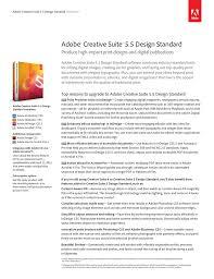 What Is In Adobe Creative Suite 5 5 Design Premium Adobe Creative Suite 5 5 Design Standard Datasheet
