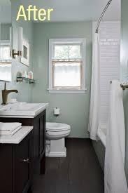 i love how clean elegant this small bathroom looks the floors are great