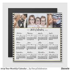 2019 Year Calendar Stripes Custom Photos Magnet Zazzle