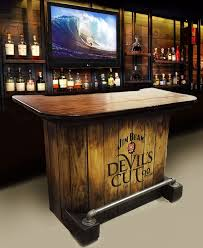 home bar custom hand built rustic whiskey, pub, man cave, barn Jim Beam  Devil's Cut charred barrel theme LOCAL PICKUP ONLY.