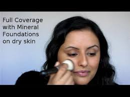 how to full coverage foundation using mineral make up for dry bination skin