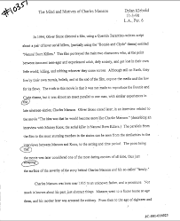 dylan klebold s creative writing charles manson report